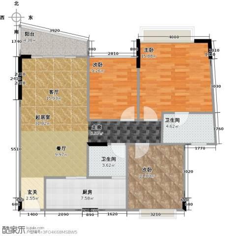 蔚蓝星湖二期3室0厅2卫1厨120.00㎡户型图