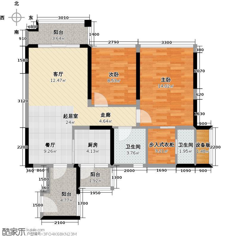 诺德名都92.00㎡5号楼二~九、十二~三十层A06户型2室2卫1厨