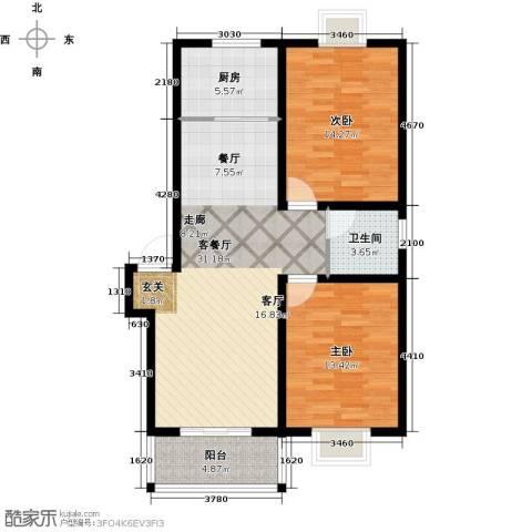 攀华未来城2室1厅1卫1厨83.00㎡户型图