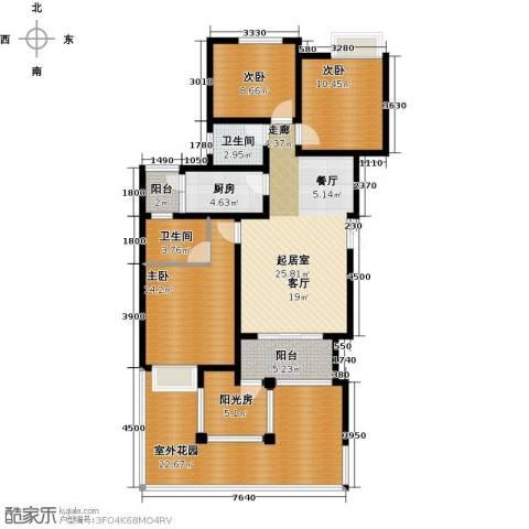 千山米兰郡3室0厅2卫1厨105.45㎡户型图