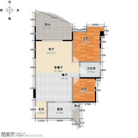 锦绣江南二期2室1厅1卫1厨94.00㎡户型图