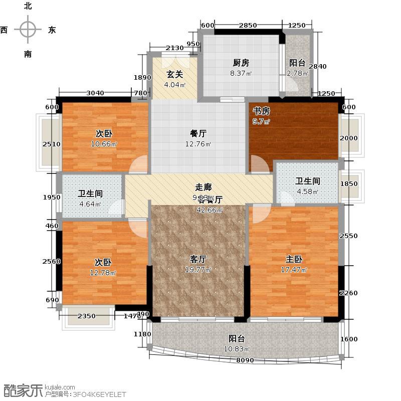 庄士映蝶蓝湾I栋01单元户型4室1厅2卫1厨