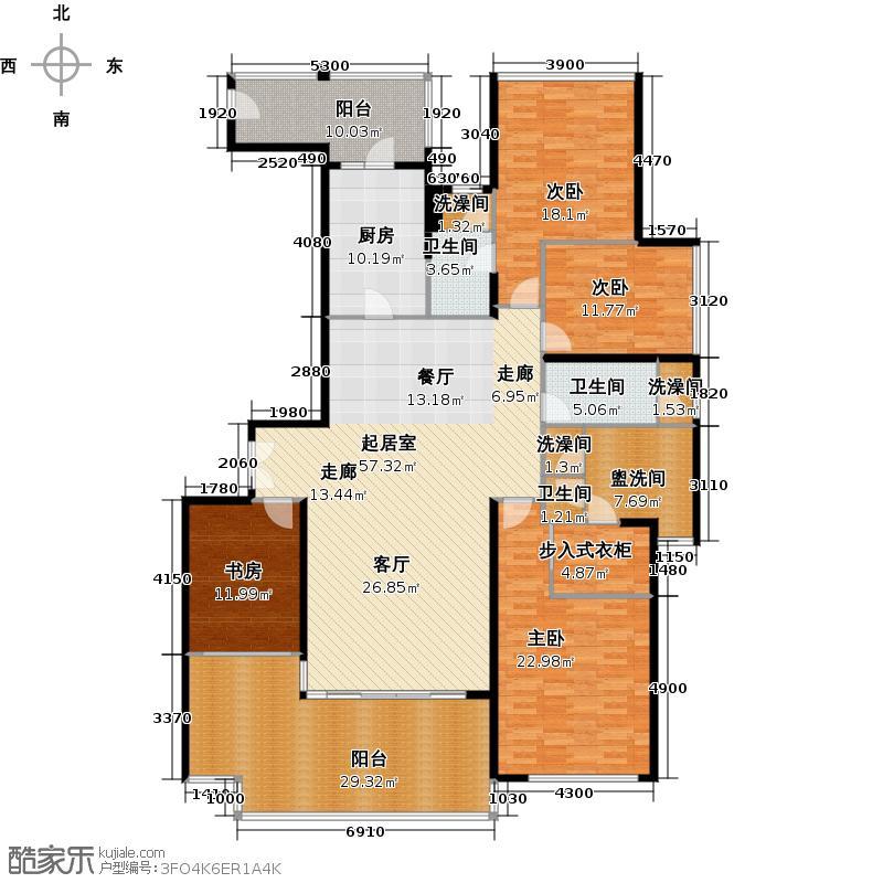大学小筑7栋01单位户型4室3卫1厨