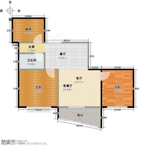 锦绣江南二期2室1厅1卫1厨81.00㎡户型图