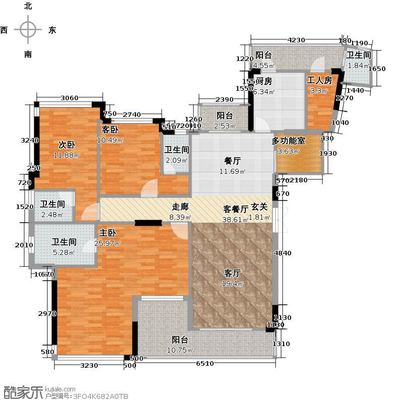 庄士映蝶蓝湾一期B栋户型3室1厅4卫1厨