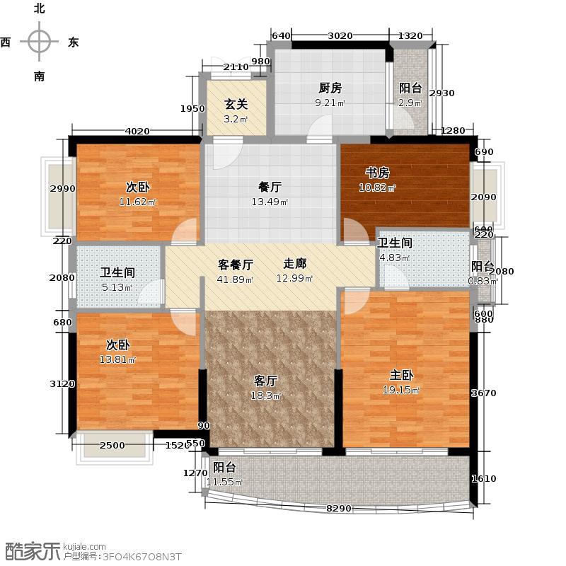 庄士映蝶蓝湾二期N栋户型4室1厅2卫1厨