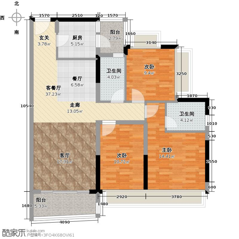 庄士映蝶蓝湾二期J栋01户型3室1厅2卫1厨