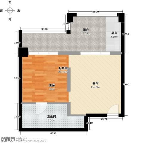 隆鑫三峡国家度假公园1卫0厨58.00㎡户型图