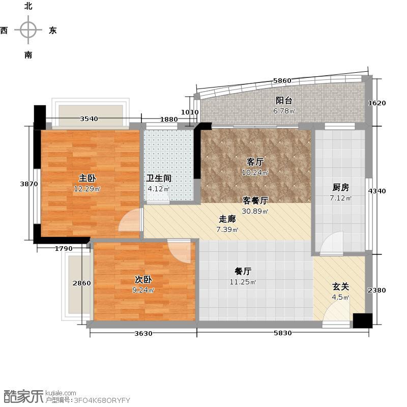 庄士映蝶蓝湾F栋05单元户型2室1厅1卫1厨