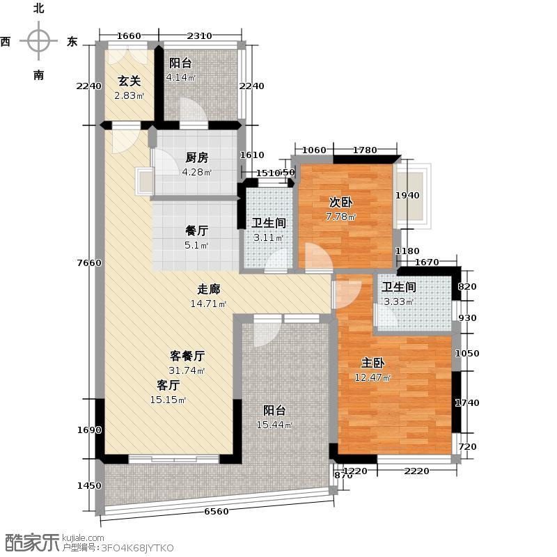 庄士映蝶蓝湾2期12-17座标准层01单位户型2室1厅2卫1厨