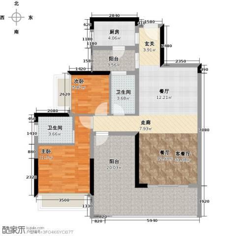 金地湖山大境2室1厅2卫1厨103.00㎡户型图