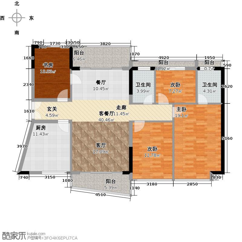 庄士映蝶蓝湾二期J栋04户型4室1厅2卫1厨