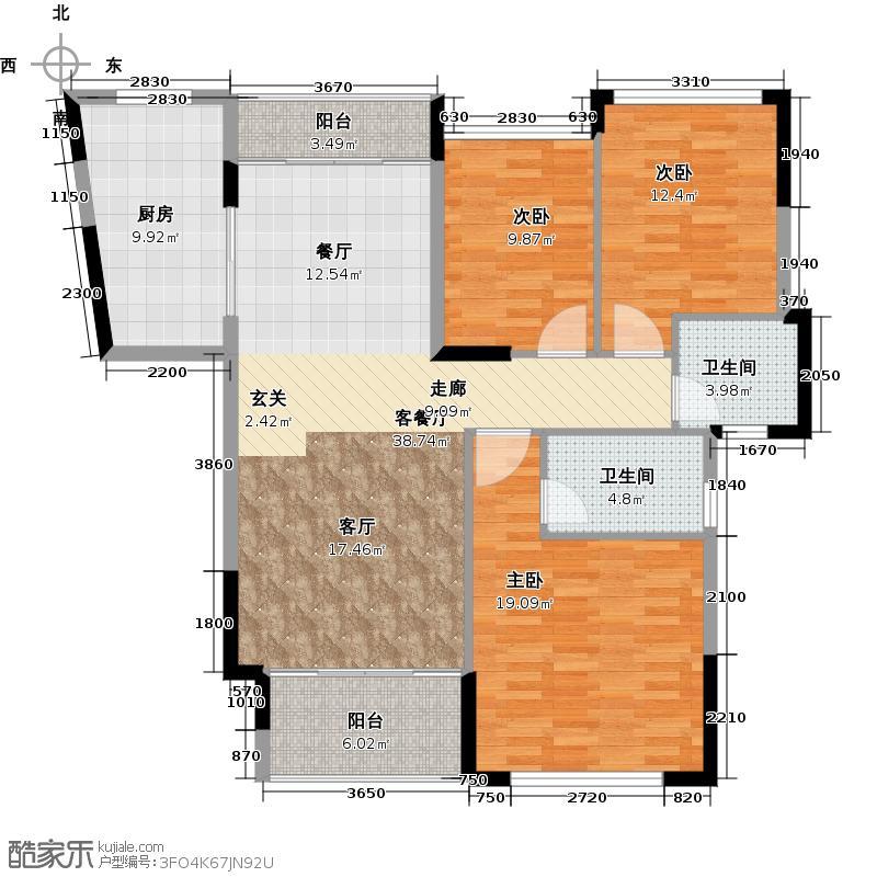 庄士映蝶蓝湾C户型3室1厅2卫1厨