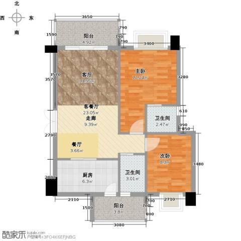虎门地标2室1厅2卫1厨90.00㎡户型图