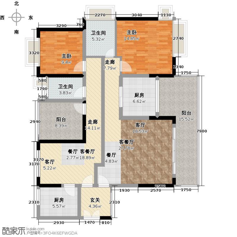 金地湖山大境303栋01+02户型2室2厅2卫2厨