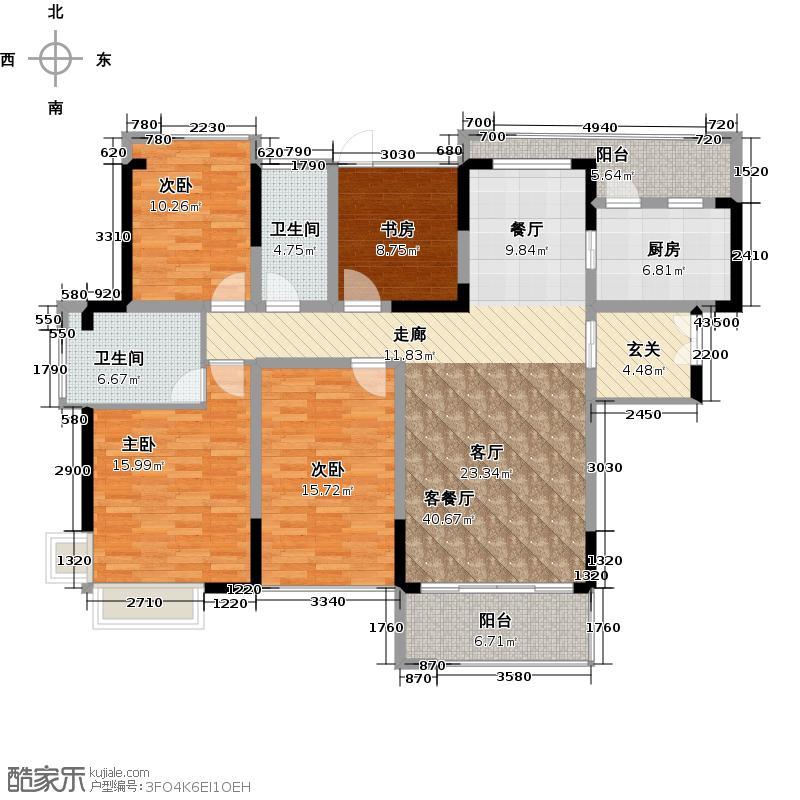 金地湖山大境户型4室1厅2卫1厨