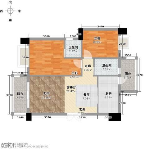 虎门地标2室1厅2卫1厨89.00㎡户型图
