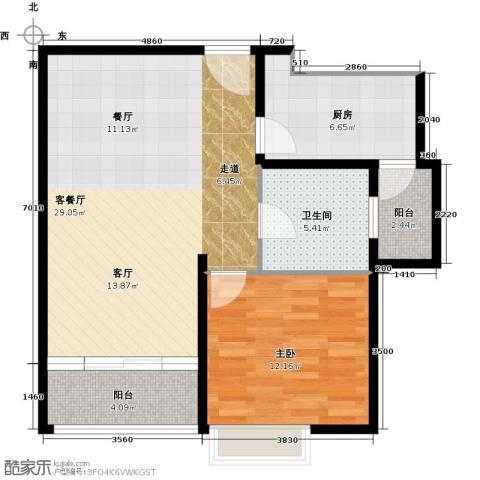 嘉里不夜城1室1厅1卫1厨60.00㎡户型图