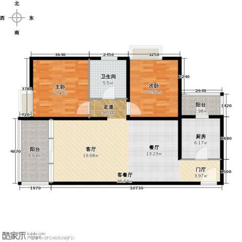 嘉里不夜城2室1厅1卫1厨114.00㎡户型图