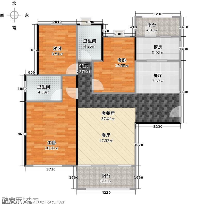 翠屏领东天河1座3座03单元户型3室1厅2卫1厨