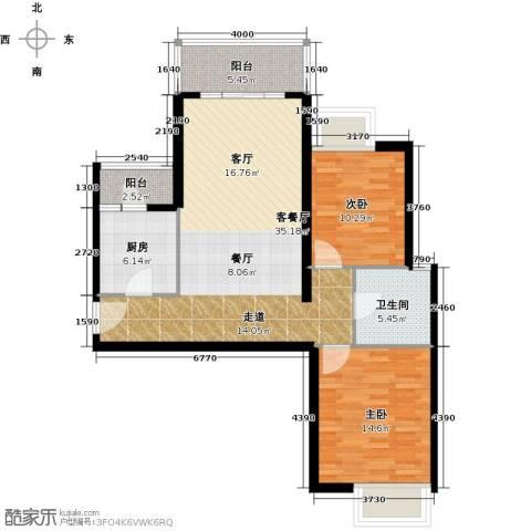 嘉里不夜城2室1厅1卫1厨112.00㎡户型图