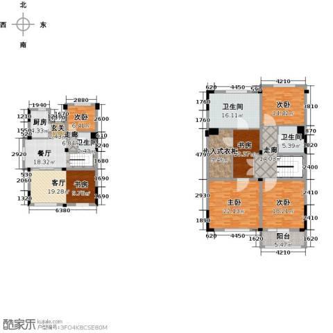 绿城玉兰公馆5室2厅3卫1厨190.00㎡户型图