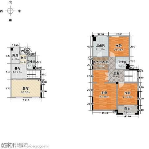 绿城玉兰公馆3室2厅3卫1厨177.00㎡户型图
