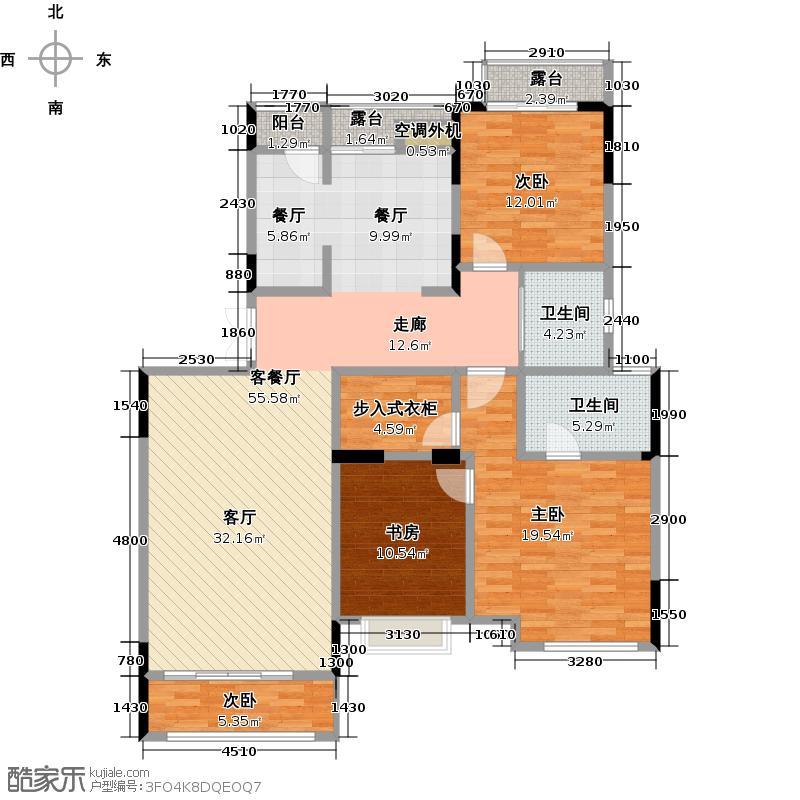 华宇上院16号楼3单元3层楼1号房户型4室1厅2卫