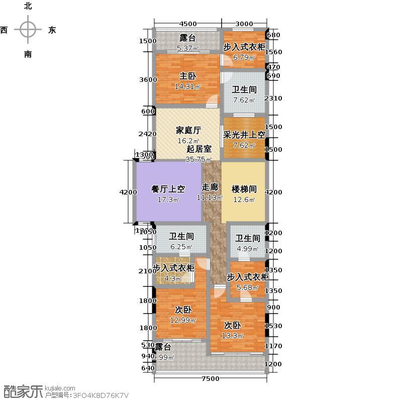阿卡迪亚江山凌云江域27峰F二层户型3室3卫
