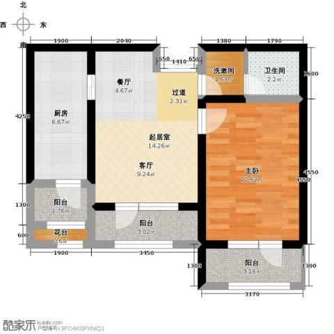 地恒托斯卡纳1室0厅1卫1厨45.92㎡户型图