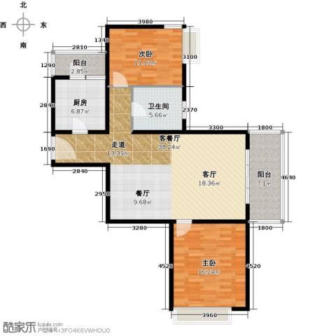 嘉里不夜城2室1厅1卫1厨90.00㎡户型图