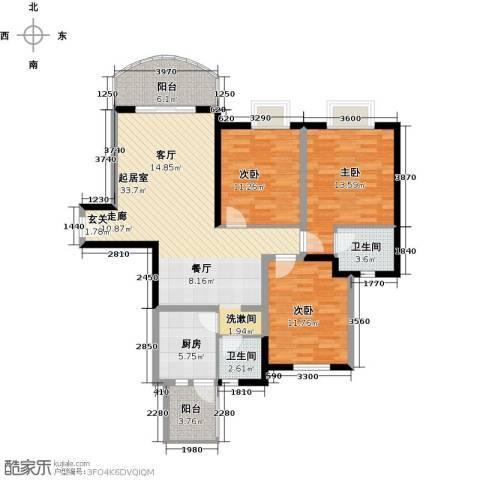 天邑宏御花园3室0厅2卫1厨122.00㎡户型图