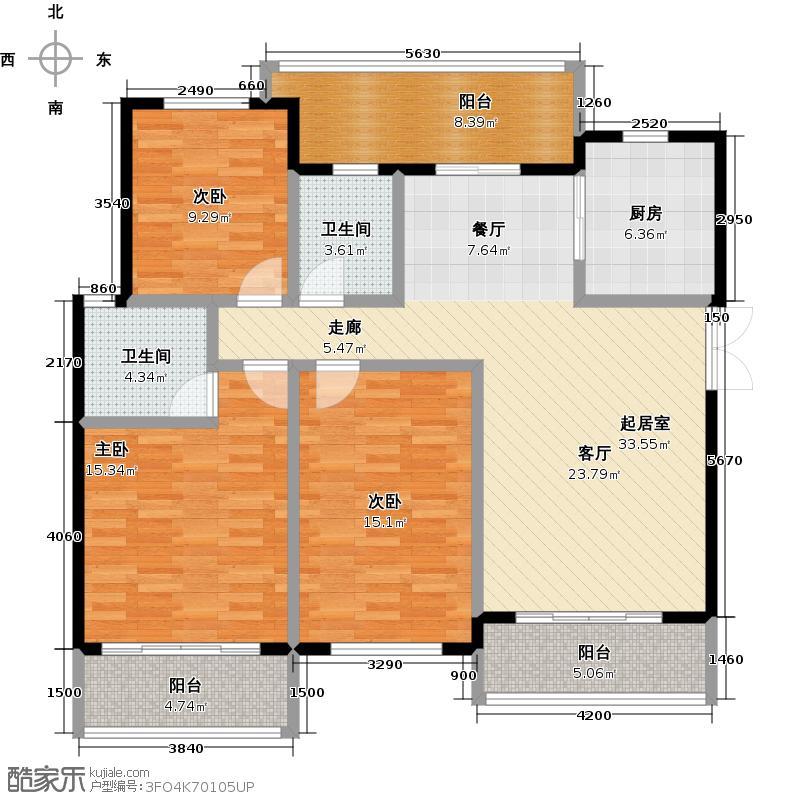 半山七号15号楼3FC3户型3室2卫1厨