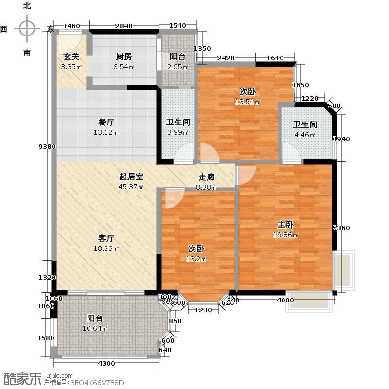 东湖洲花园1区3座-201户型3室2卫