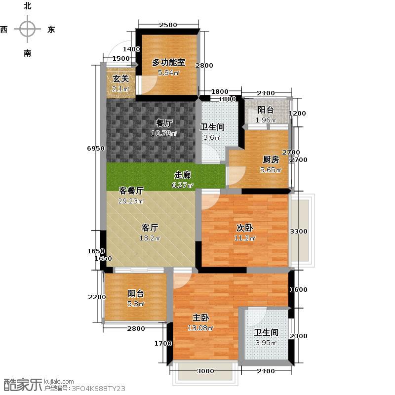 荣富西城尚锦C4户型2室1厅2卫1厨