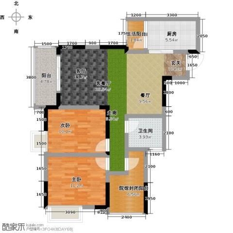 绿地海棠湾2室1厅1卫1厨107.00㎡户型图