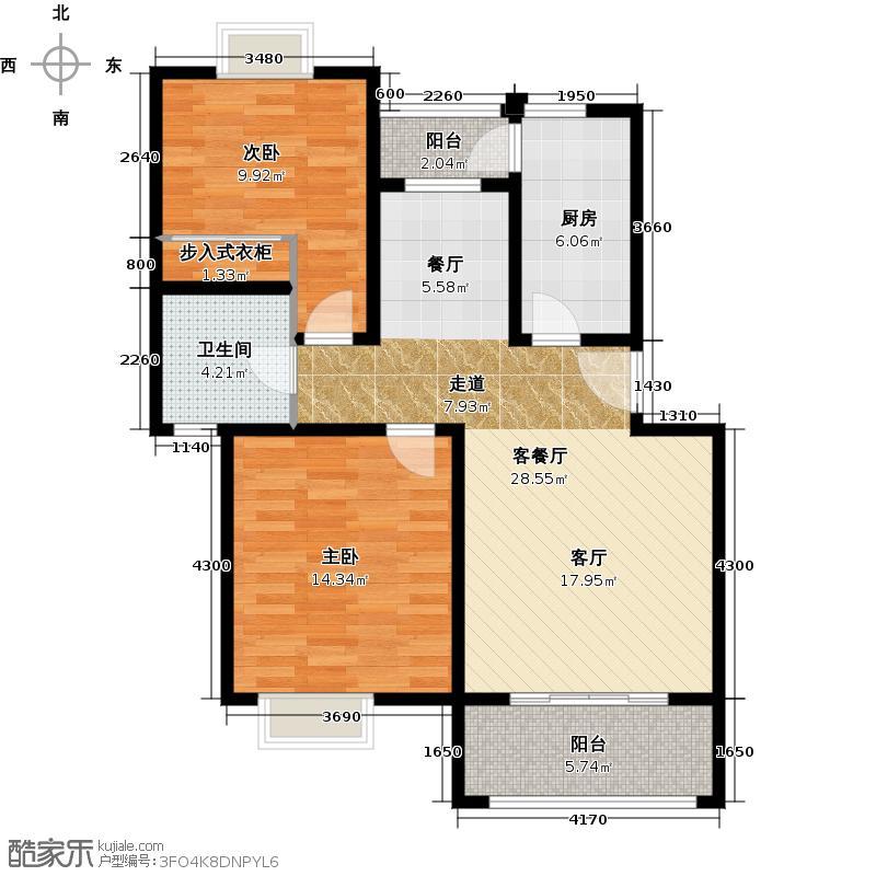 康敏苑二期D1户型2室1厅1卫1厨