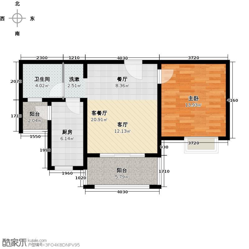 康敏苑二期D5户型1室1厅1卫1厨