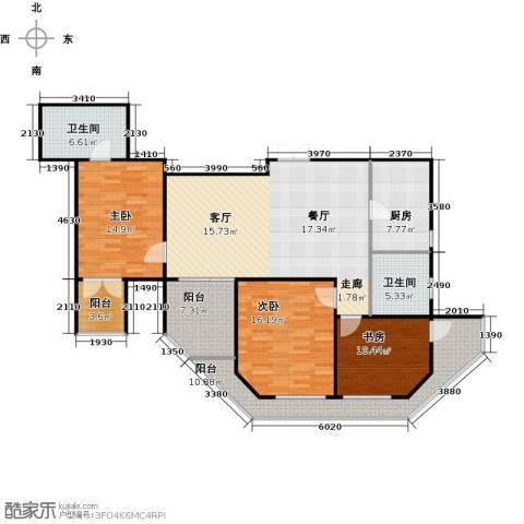 怡湖华庭澜郡3室0厅2卫1厨129.00㎡户型图