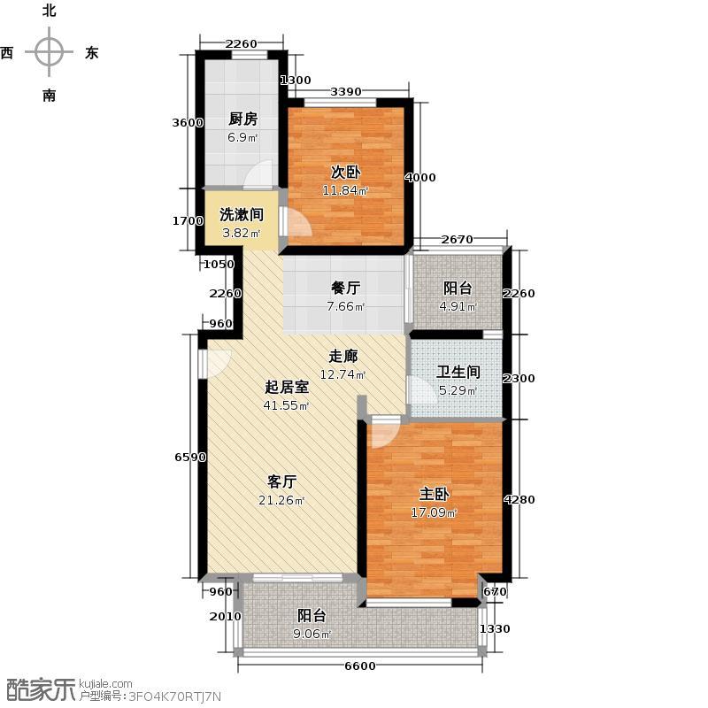 中环1号--26套-宝山房地(2009)预字0122号户型2室1卫1厨