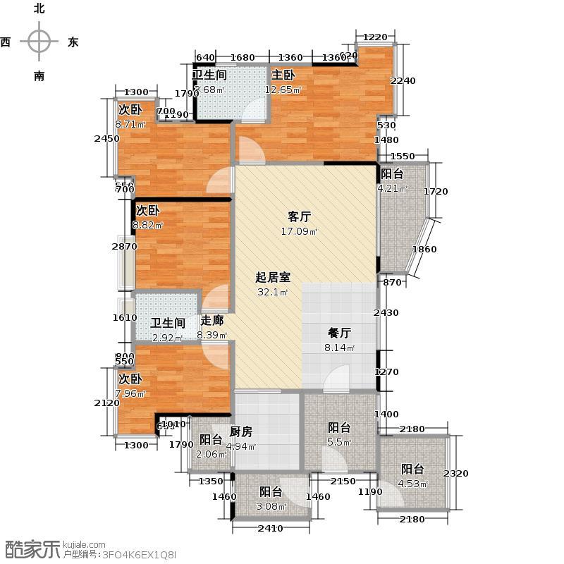 北部万科城一期A1-A4栋04单位户型4室2卫1厨