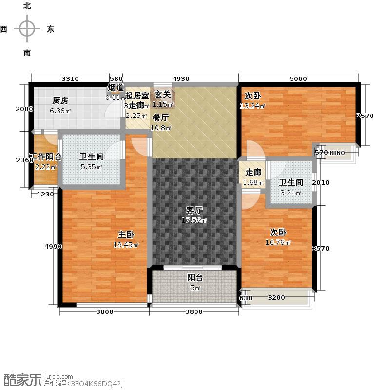 星晨时代豪庭5座13-24层02单位户型3室2卫1厨