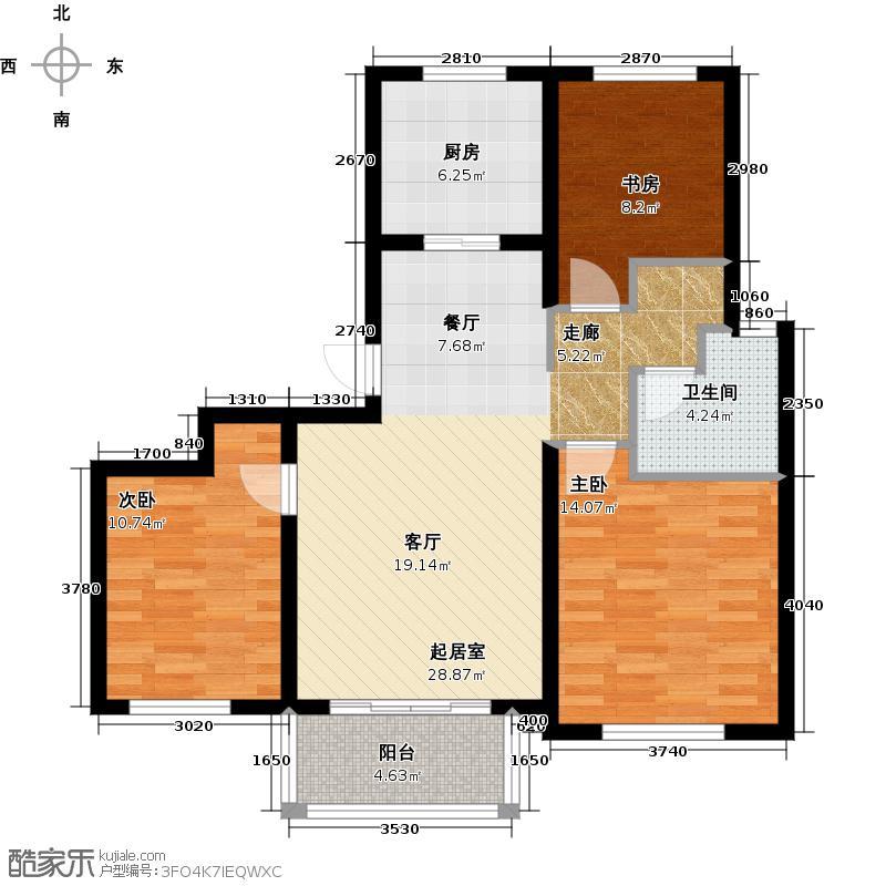 金辉天鹅湾B1户型3室1卫1厨
