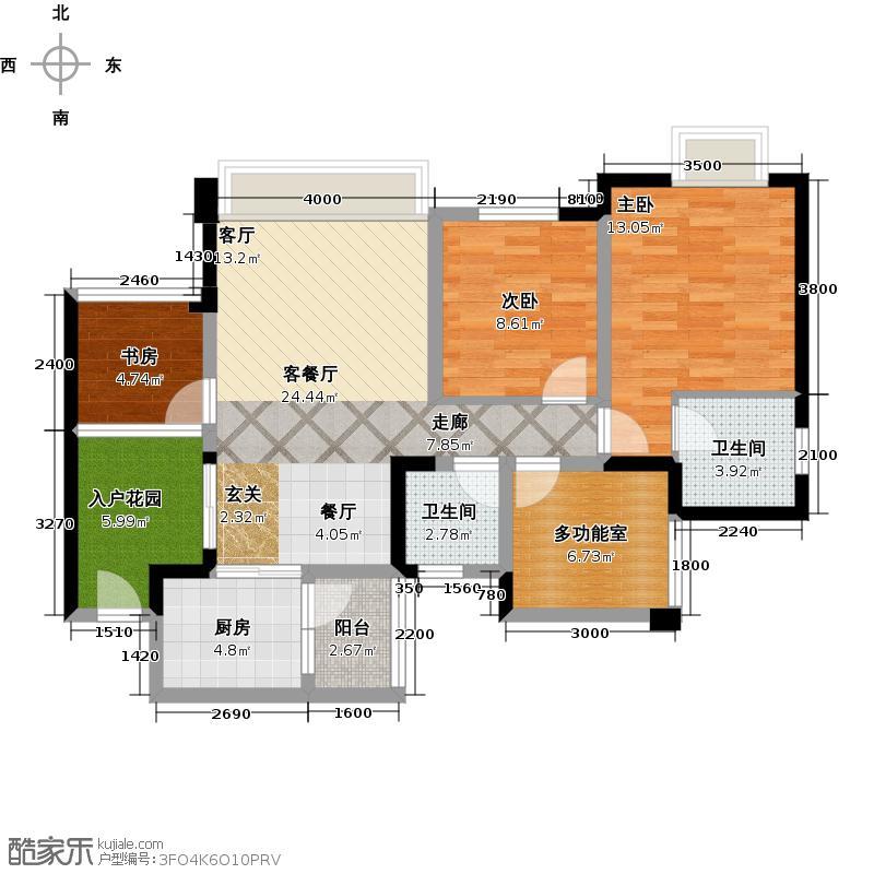 凯斯顿华府三期A-1型户型3室1厅2卫1厨