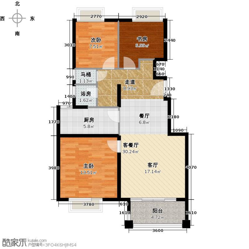 中锐龙湾壹号--126套户型3室1厅1厨