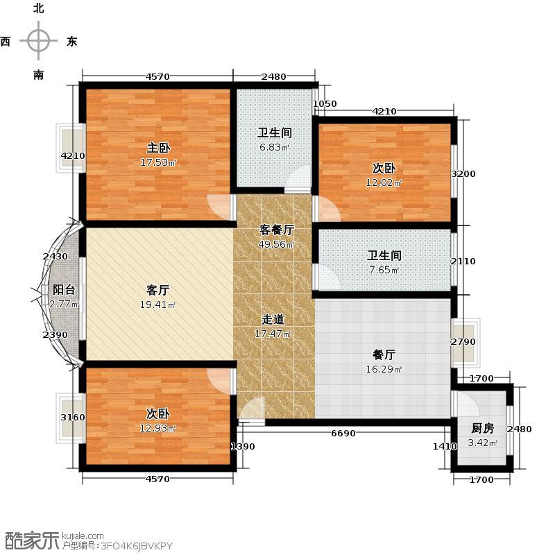 小上海新城南北通户型3室1厅2卫1厨