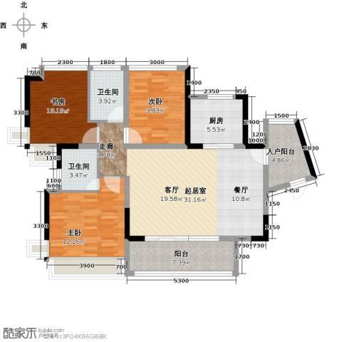 天安菁华公寓3室0厅2卫1厨110.00㎡户型图