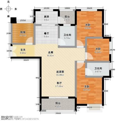 旭阳台北城敦美里3室0厅2卫1厨109.00㎡户型图