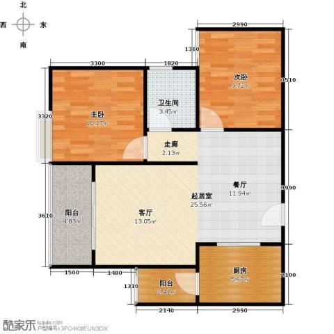 骏逸第一江岸孔雀湾二期2室0厅1卫1厨62.00㎡户型图