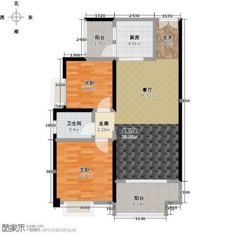 花滩国际新城丁香郡2室0厅1卫1厨80.27㎡户型图
